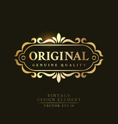 original genuine quality retro badge vector image