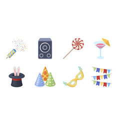 Party entertainment icons in set collection for vector