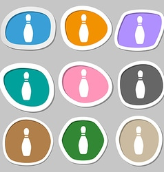 Pin bowling symbols Multicolored paper stickers vector