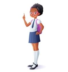 Pretty African schoolgirl got idea and vector