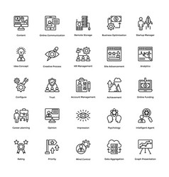 project management line icons set 16 vector image