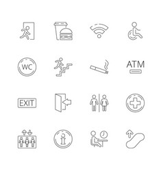 public navigate symbols toilet person food place vector image