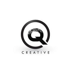 Q brush letter logo design creative brushed vector