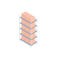 Racks with small boxes isometric vector