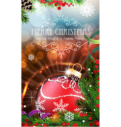 red christmas bauble with sparkles and fir vector image