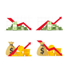 red negative financial stocks drop down vector image