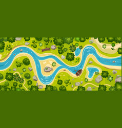 river top view landscape above forest aerial map vector image