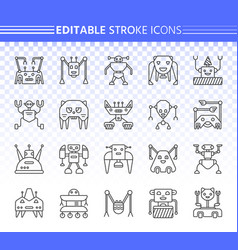 robot simple black line icons set vector image
