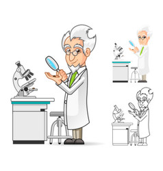 Scientist Holding a Magnifying Glass vector
