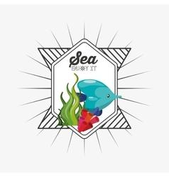 Sea life conceptual poster vector