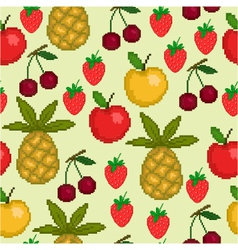 seamless pattern with pixel fruit vector image