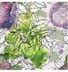 seamless watercolor pattern with green foliage vector image