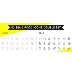Set of Thin and Bold Sea Food Elements and Sea vector image