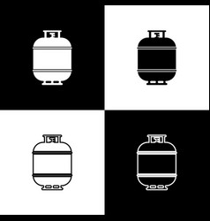 Set propane gas tank icons isolated on black and vector