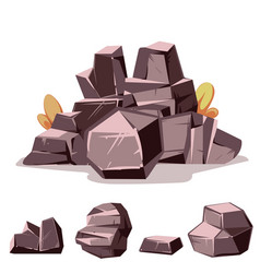 set rocks cartoon isometric 3d flat style vector image