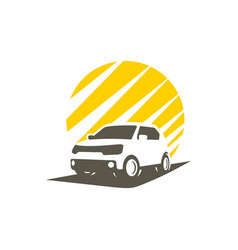 silhouette city car vector image