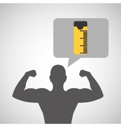 Silhouette man bodybuilder tape measure vector