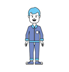 Silhouette man with shirt and pants casual cloth vector
