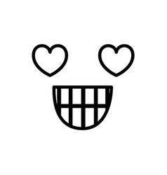 Sketch silhouette emoticon in love expression vector