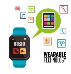 Smart watch communication message wearable vector