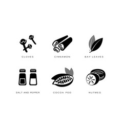 Spices and condiments icons set cloves cinnamon vector