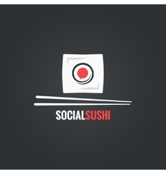 Sushi roll social concept design background vector