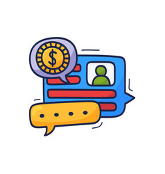 talk about money and finance is a cartoon doodle vector image