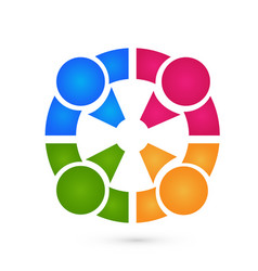 teamwork circle people business logo vector image