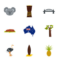 Tourism in australia icon set flat style vector