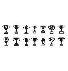 trophy cup icon set simple style vector image