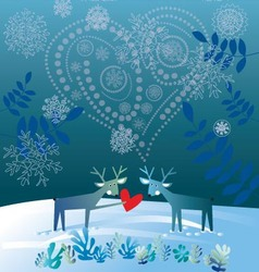 two deers in love winter time cold weather vector image
