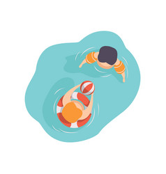 two kids swimming in the pool top view vector image