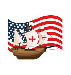 Usa flag and ship navigation transport vector