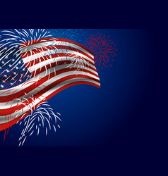 Usa flag with fireworks at night vector
