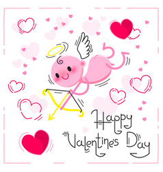 valentines day card with cute cupid and hearts on vector image