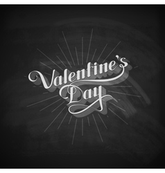 Valentines Day retro label on the blackboard vector image