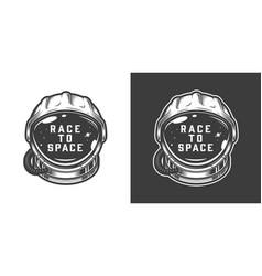 Vintage monochrome astronaut helmet space emblem vector