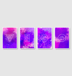 violet watercolor texture background set vector image