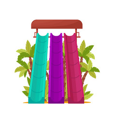 Water park with colored waterslides for kids vector
