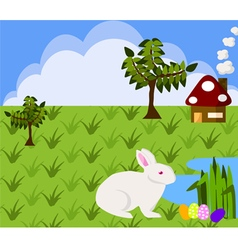 White rabbit finding Easter egg vector image