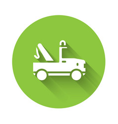 White tow truck icon isolated with long shadow vector