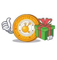 with gift bitconnect coin character cartoon vector image