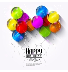Birthday card with balloons and ribbons vector image