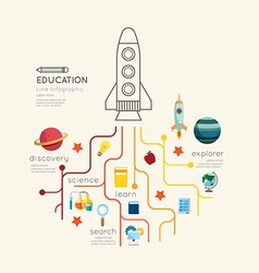 Flat line Infographic Education rocket Outline vector image
