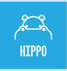 Hippo head logo design template vector