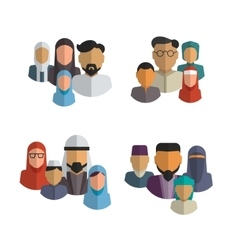 Muslim family icons set Middle eastern vector image vector image
