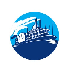 Steamboat Ferry Passenger Ship Retro vector image