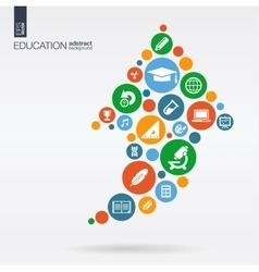 flat icons in a arrow up shape education school vector image vector image