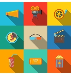 Flat modern cinema movie icons set - projector vector image vector image