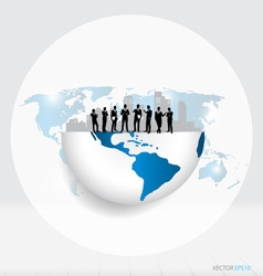Globe and building with businessman can use for vector image vector image